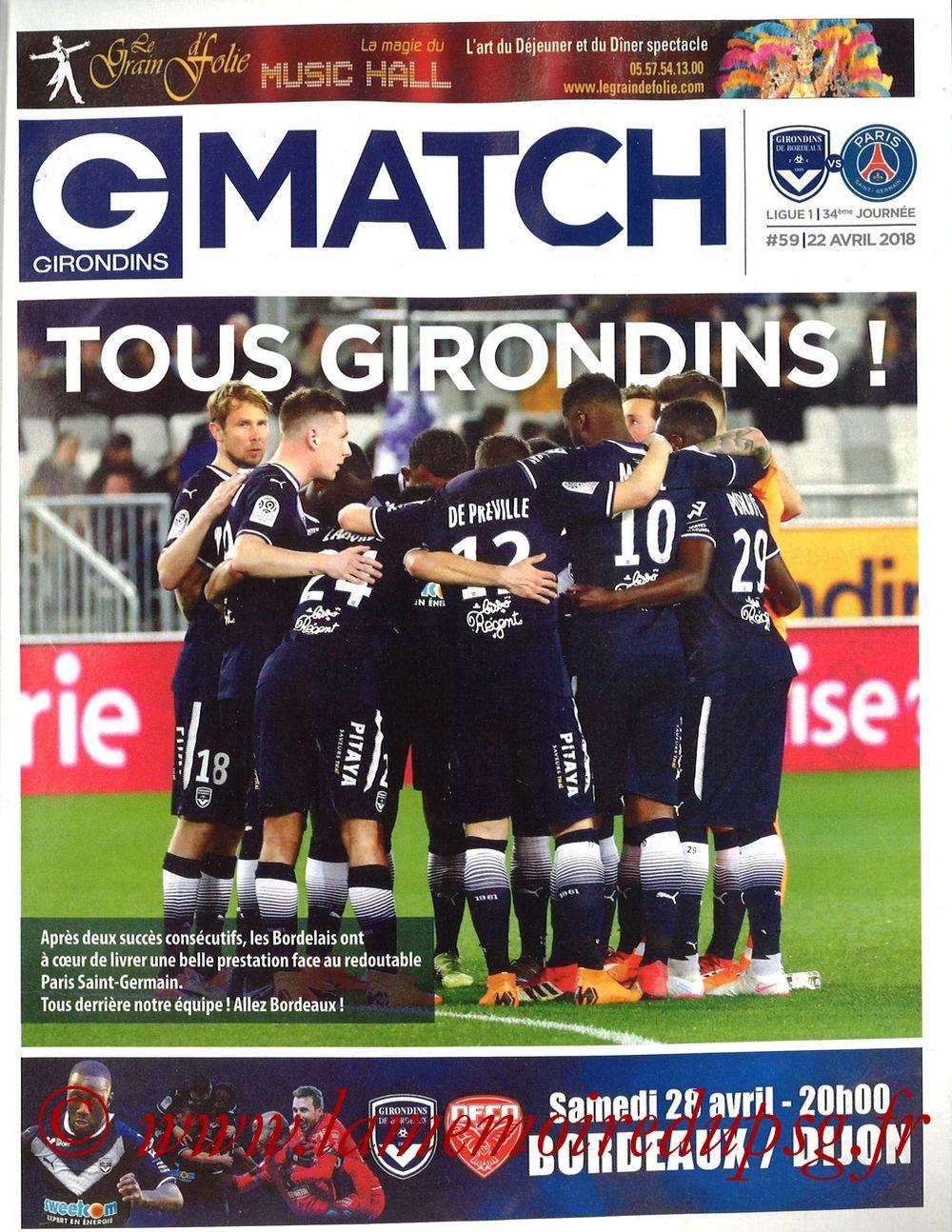 2018-04-22  Bordeaux-PSG (34ème L1, Girondins Match N°59)