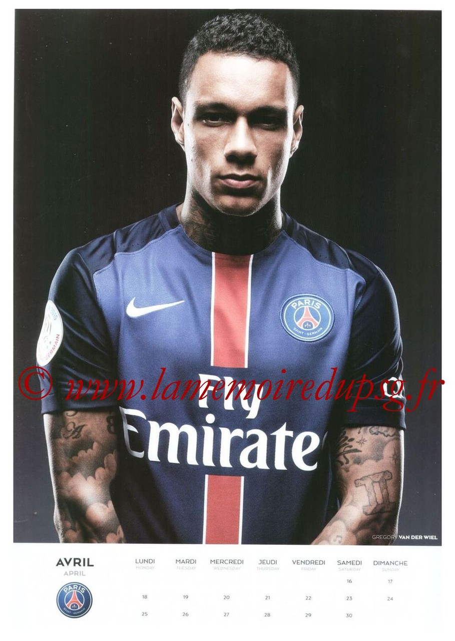 Calendrier PSG 2016 - Page 08 - Gregory VAN DER WIEL