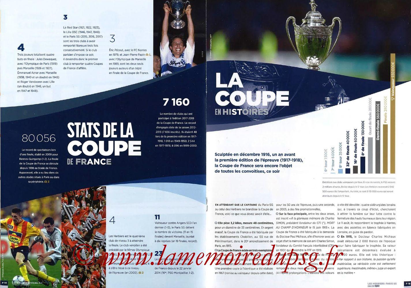 2018-05-08  Les Herbiers-PSG (Finale CF à Saint-Denis, Programme officiel FFF) - Pages 14 et 15