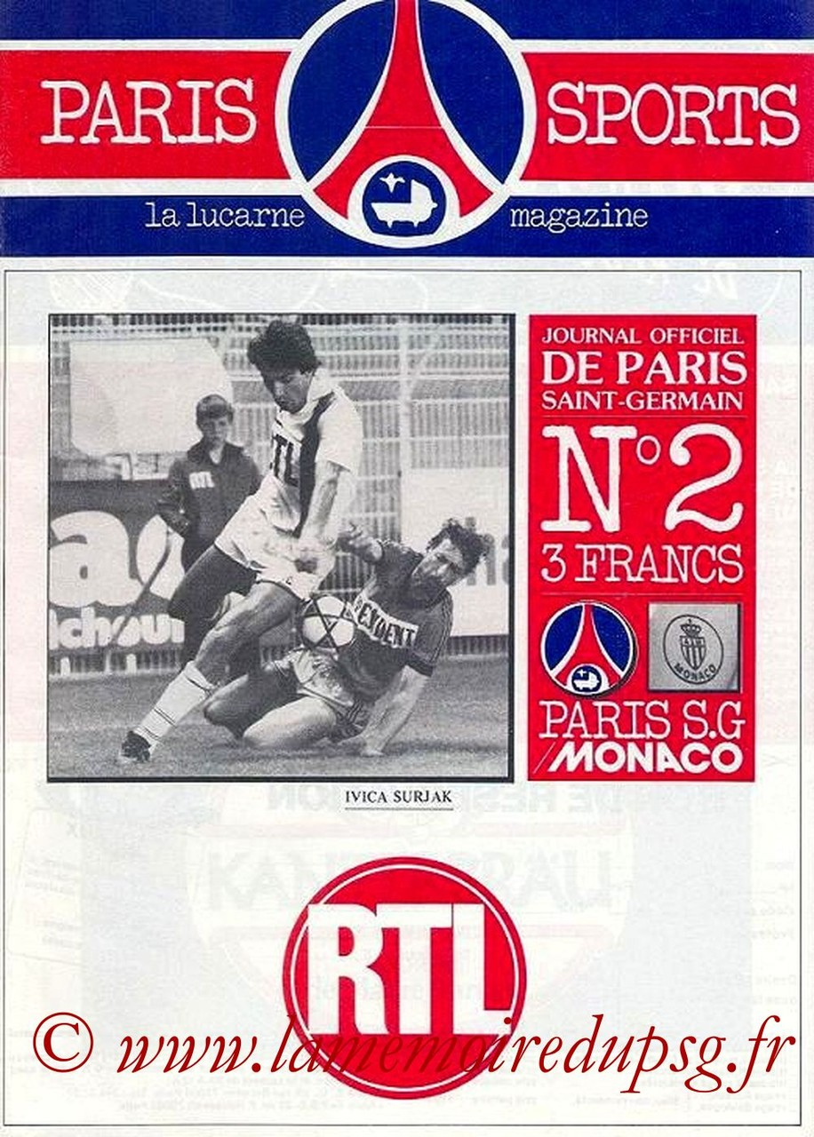 1981-08-07  PSG-Monaco (4ème D1, Paris Sports Magazine N°2)