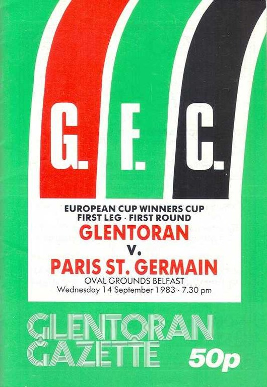 1983-09-14  Glentoran-PSG (16ème Aller C2, Glentoran Gazette)