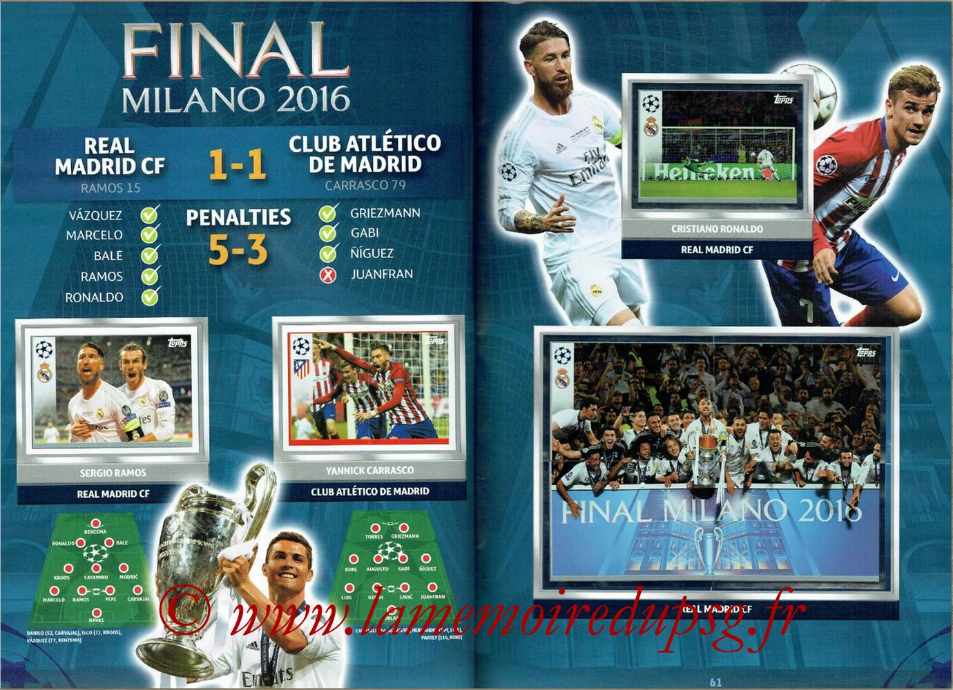 2016-17 - Topps UEFA Champions League Stickers - Pages 60 et 61 - Finale 2016