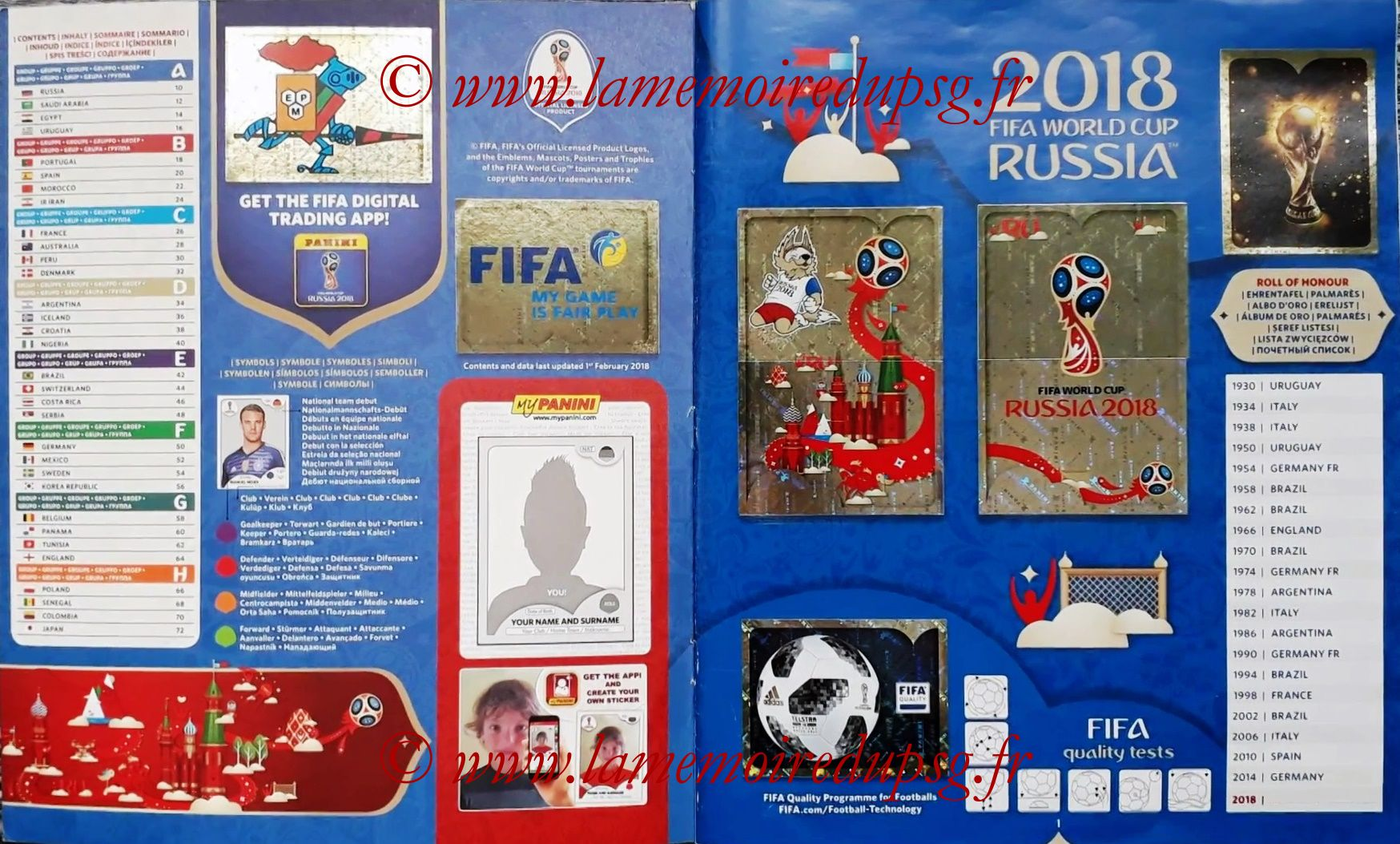 2018 - Panini FIFA World Cup Russia Stickers - Pages 00 et 01 - Sommaire et Palmares