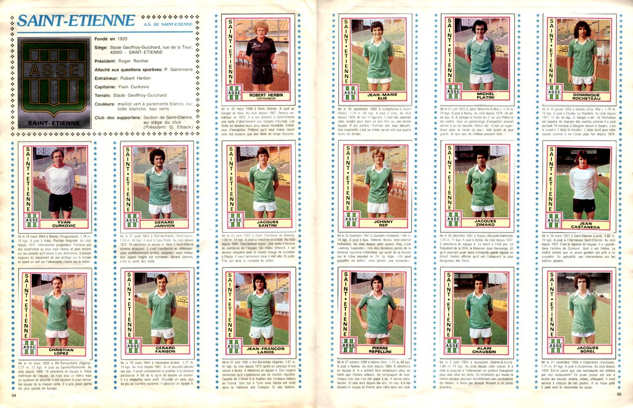 1979-80 - Panini 1980 - Pages 34 et 35 - AS Saint-Etienne