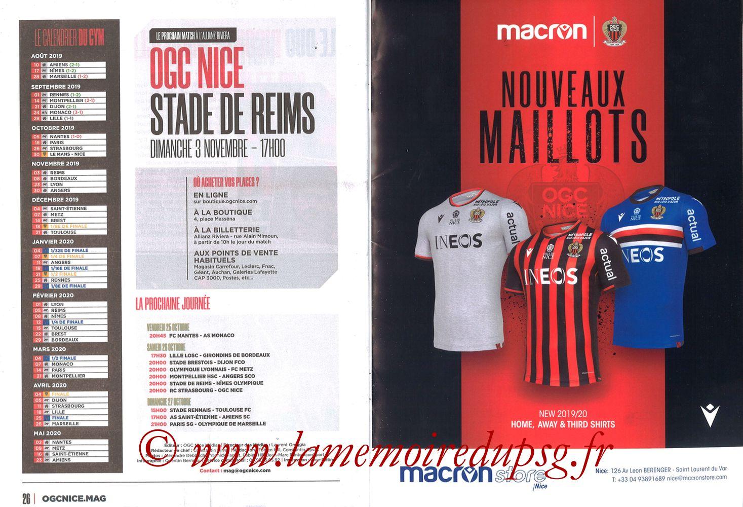 2019-10-18  Nice-PSG (10ème L1, OGCNice Mag N° 333) - Pages 26 et 27