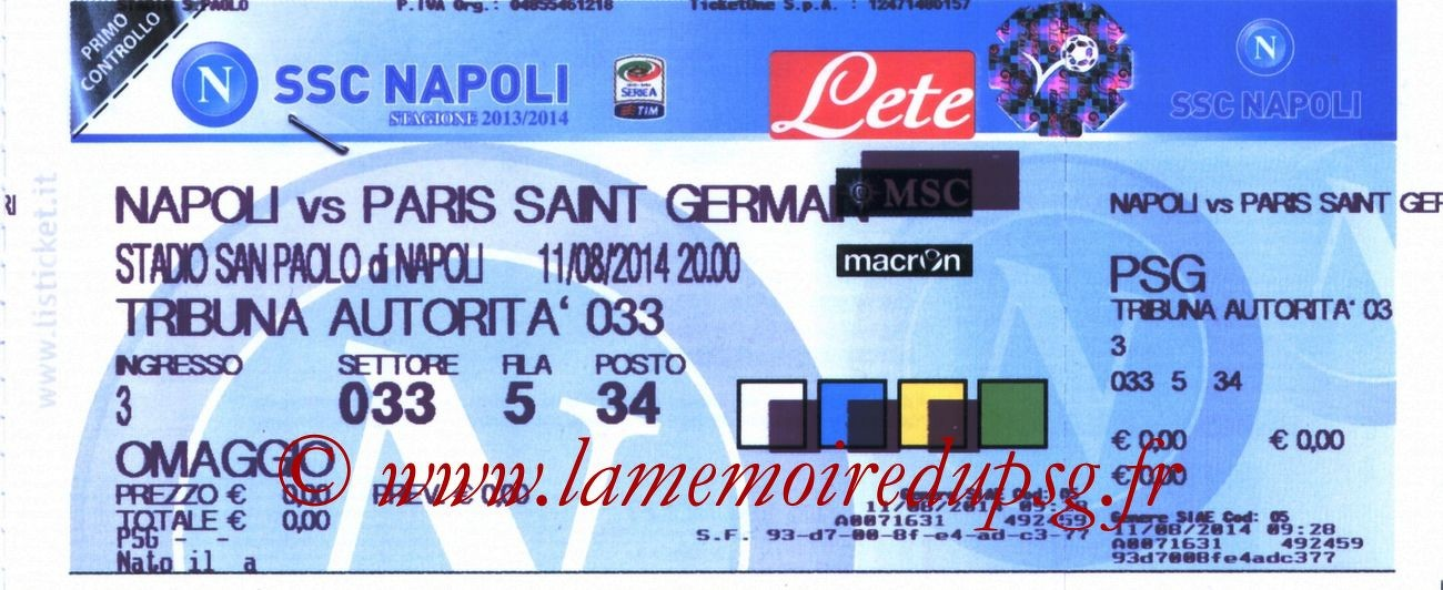 2014-08-11  Naples-PSG (Amical à Naples)