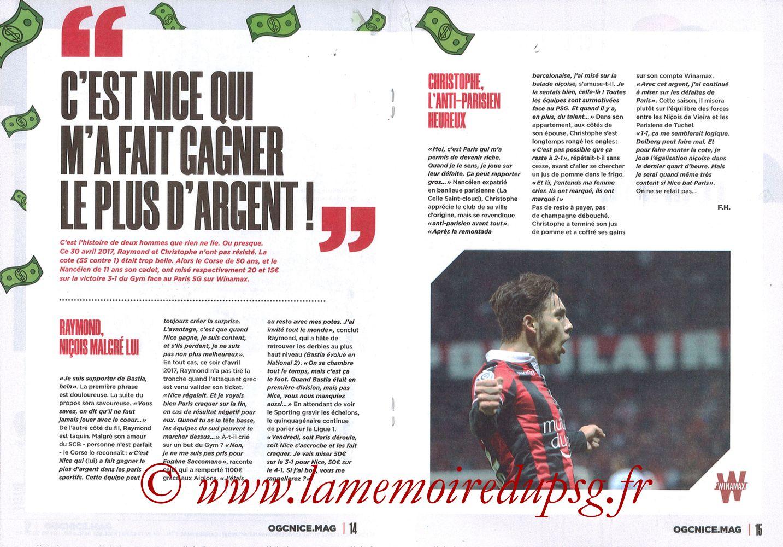 2019-10-18  Nice-PSG (10ème L1, OGCNice Mag N° 333) - Pages 14 et 15