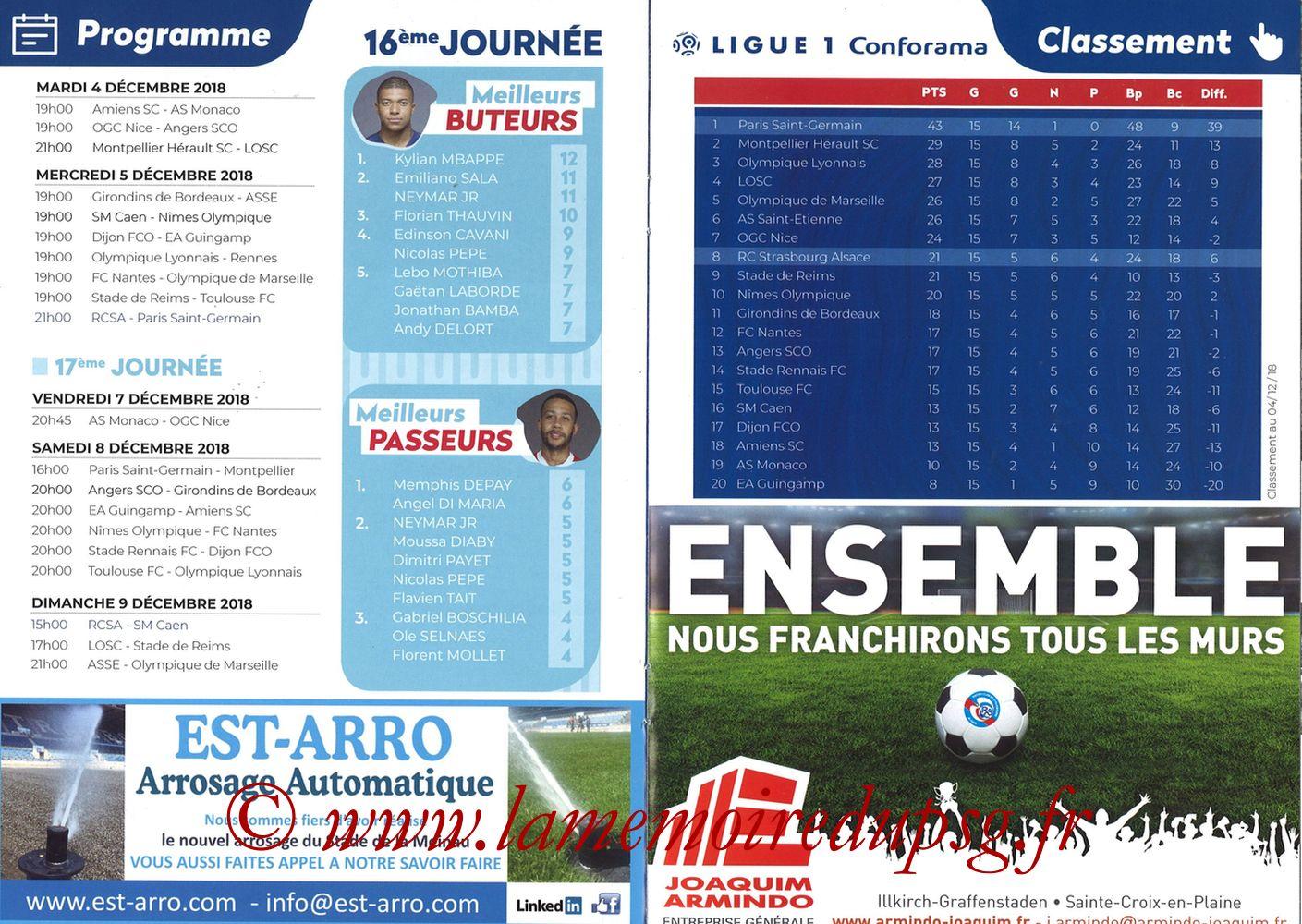 2018-12-05  Strasbourg-PSG (16ème L1, Passion Racing N°7) - Pages 10 et 11
