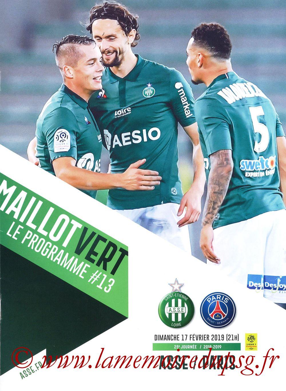 2019-02-17  Saint Etienne-PSG (25ème L1, Maillot Vert N° 13)