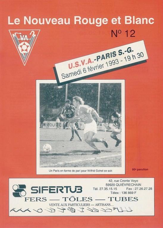 1993-02-06  Valenciennes-PSG (24ème D1, Le Nouveau Rouge et Blanc N° 12)