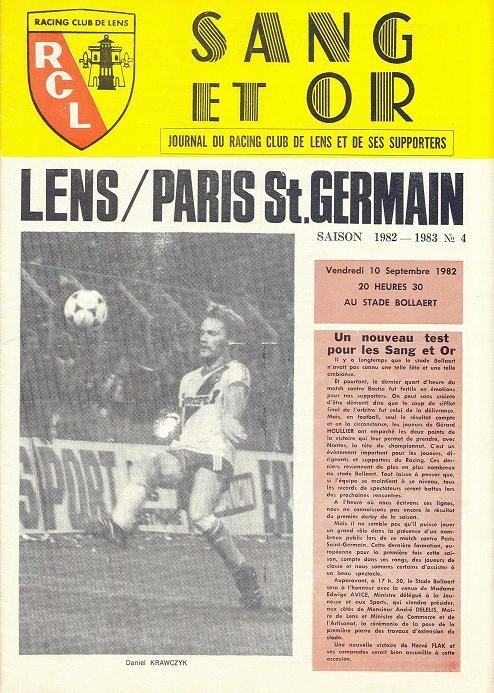 1982-09-10  Lens-PSG (6ème D1, Sang et Or N°4)