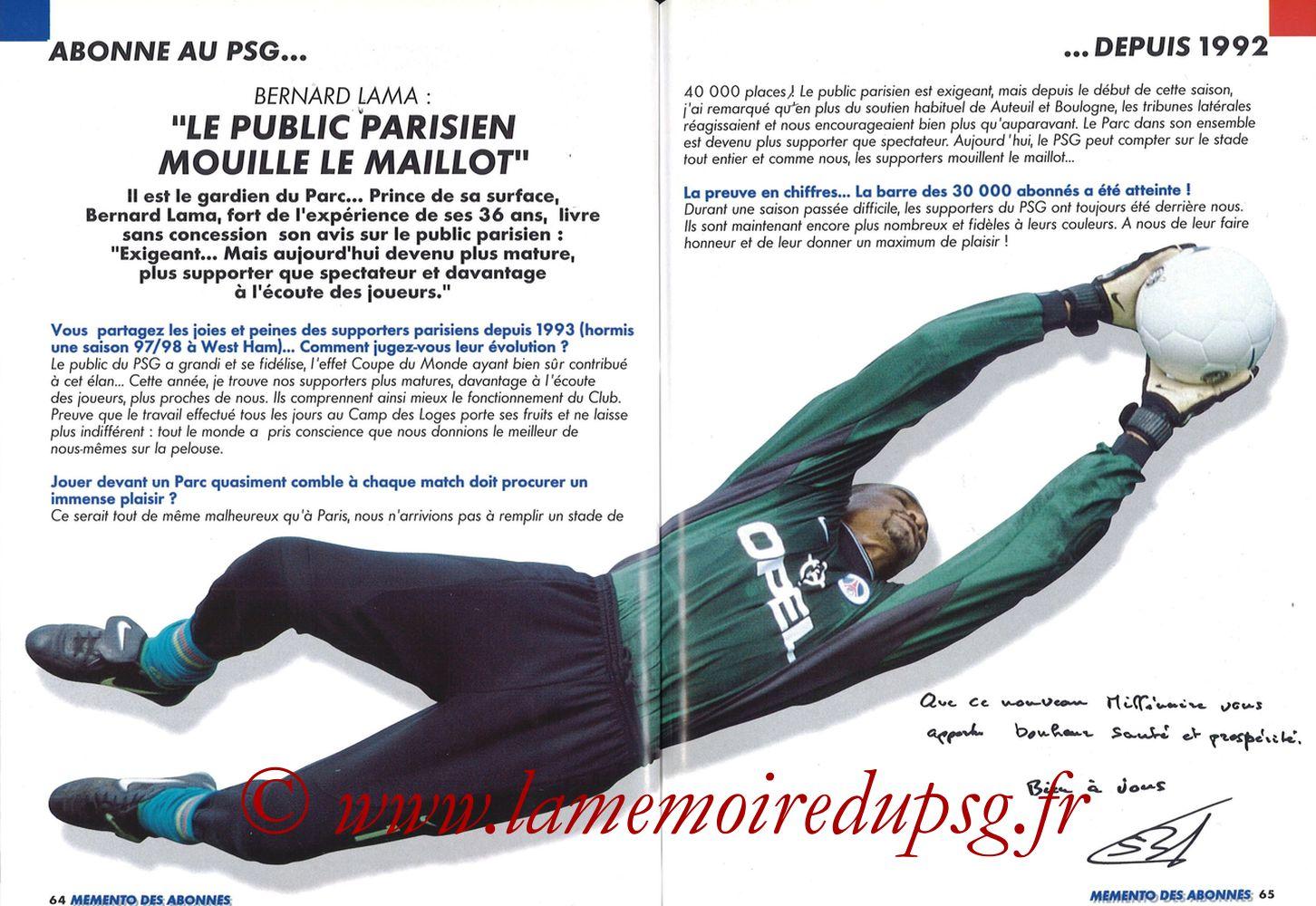 1999-00 - Guide de la Saison PSG - Pages 64 et 65