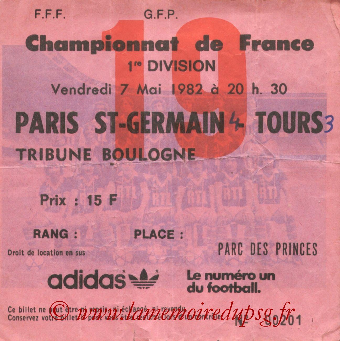1982-05-07  PSG-Tours (38ème D1, Ticket N°19, bis)