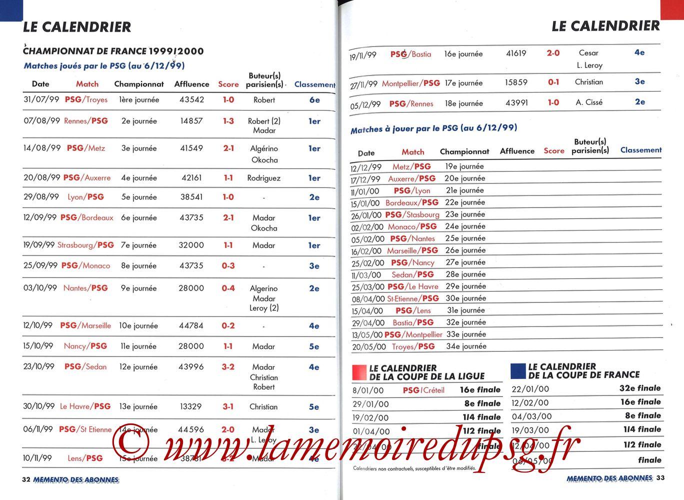 1999-00 - Guide de la Saison PSG - Pages 32 et 33