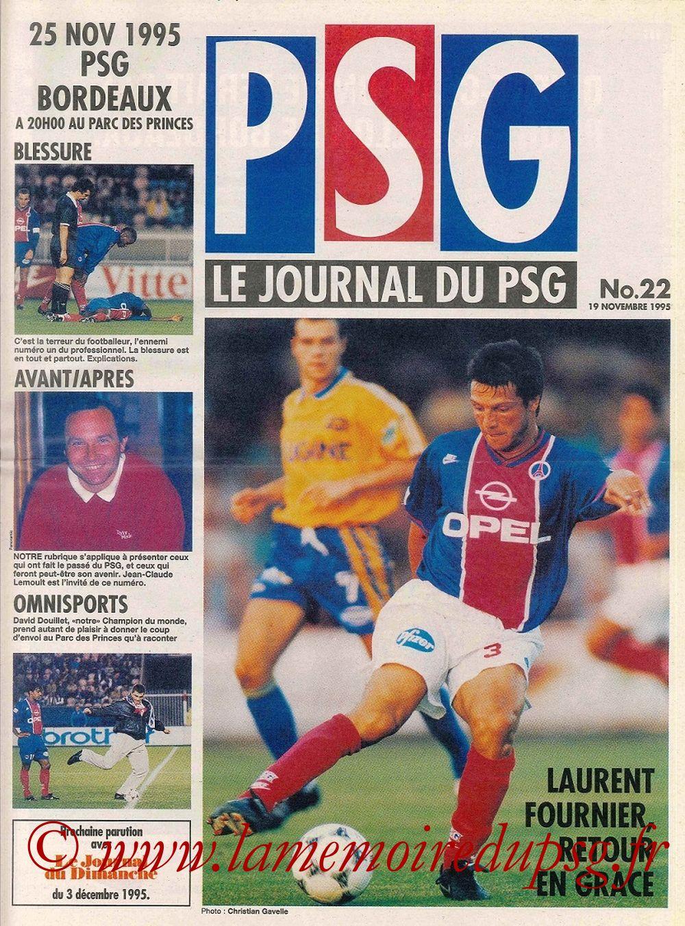 1995-11-25  PSG-Bordeaux (19ème D1, Le journal du PSG N°22)