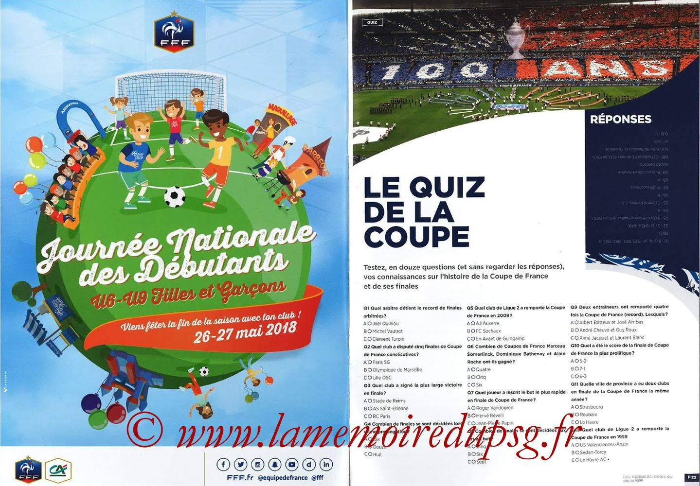 2018-05-08  Les Herbiers-PSG (Finale CF à Saint-Denis, Programme officiel FFF) - Pages 24 et 25