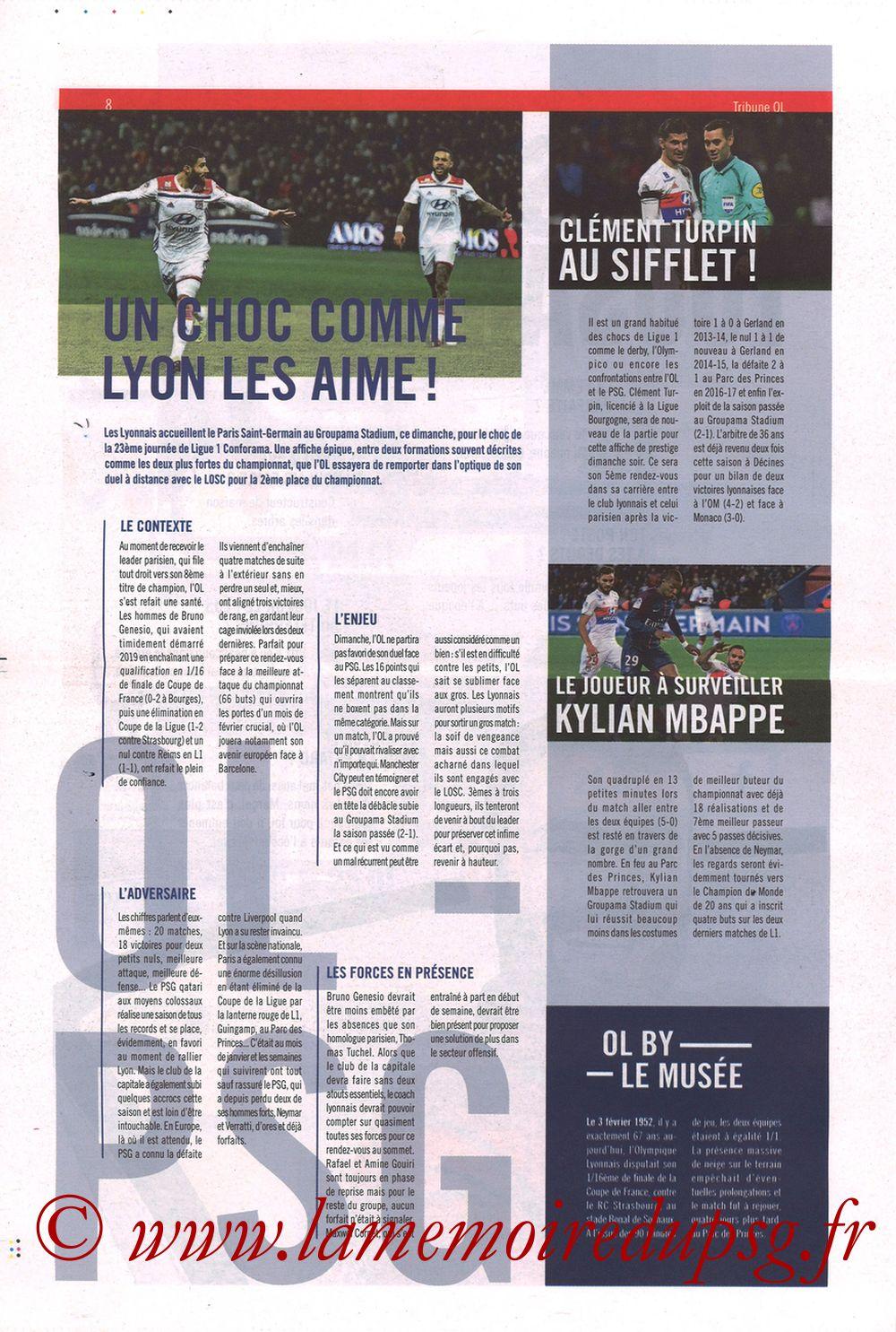 2019-02-03  Lyon-PSG (23ème L1, La Tribune OL N°270) - Page 08
