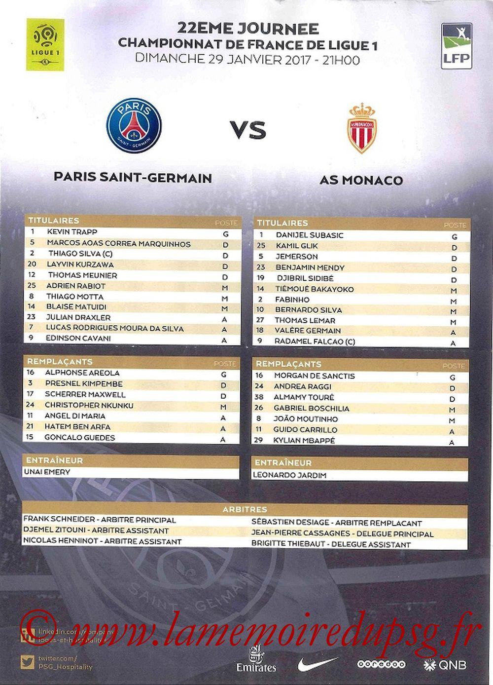 2017-01-29  PSG-Monaco (22ème L1, Feuille de match)