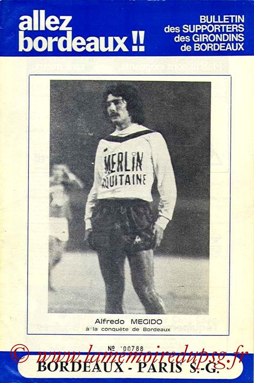 1977-12-18  Bordeaux-PSG (22ème D1, Allez Bordeaux N°12)