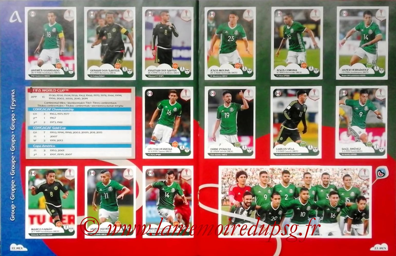 2017 - Panini Confederations Cup Russia Stickers - Pages 22 et 23 - Mexique