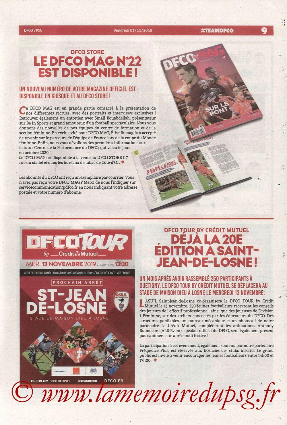 2019-11-01  Dijon-PSG (12ème L1, Chouett Infos) - Page 09