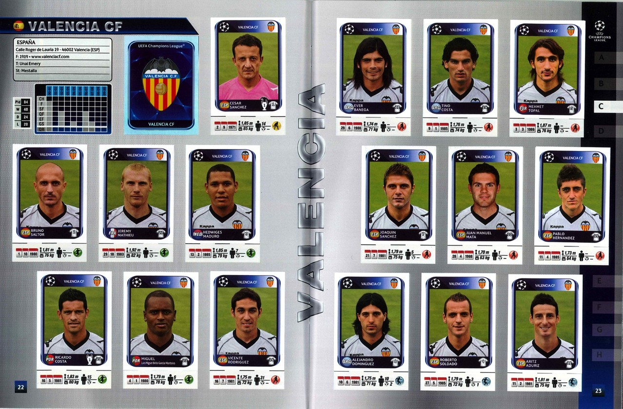 2010-11 - Panini Champions League - Pages 22 et 23 - FC Valence
