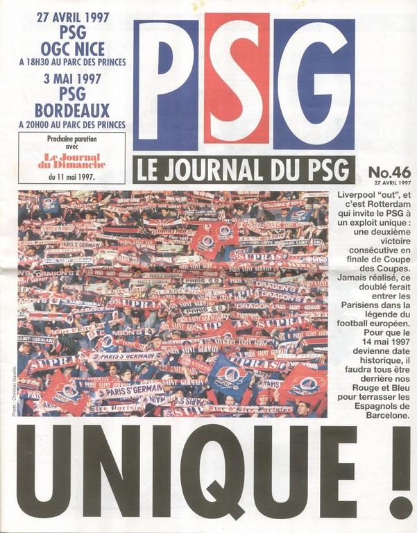 1997-04-27  PSG-Nice (34ème D1, Le Journal du PSG N°46)