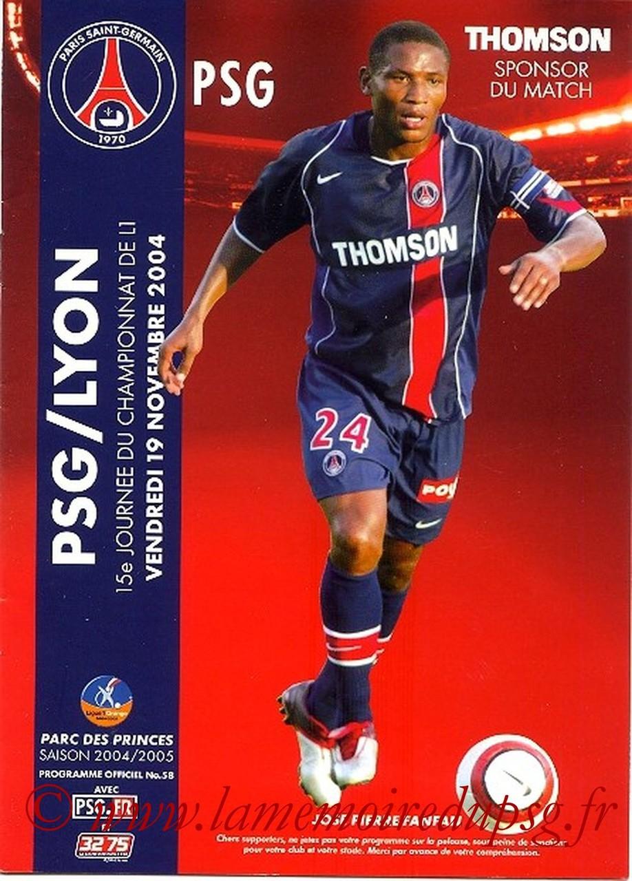2004-11-19  PSG-lyon  (15ème L1, Officiel N°58)
