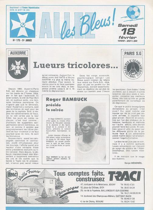 1989-02-18  Auxerre-PSG (27ème D1, Allez les bleus N°175)
