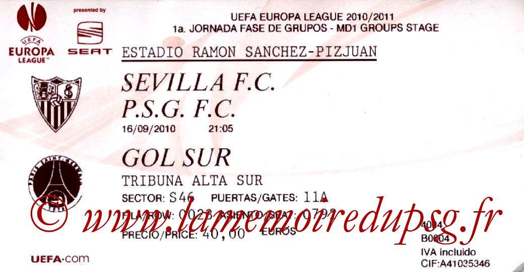 2010-09-16  Seville-PSG (1ère Journée Poule C3)