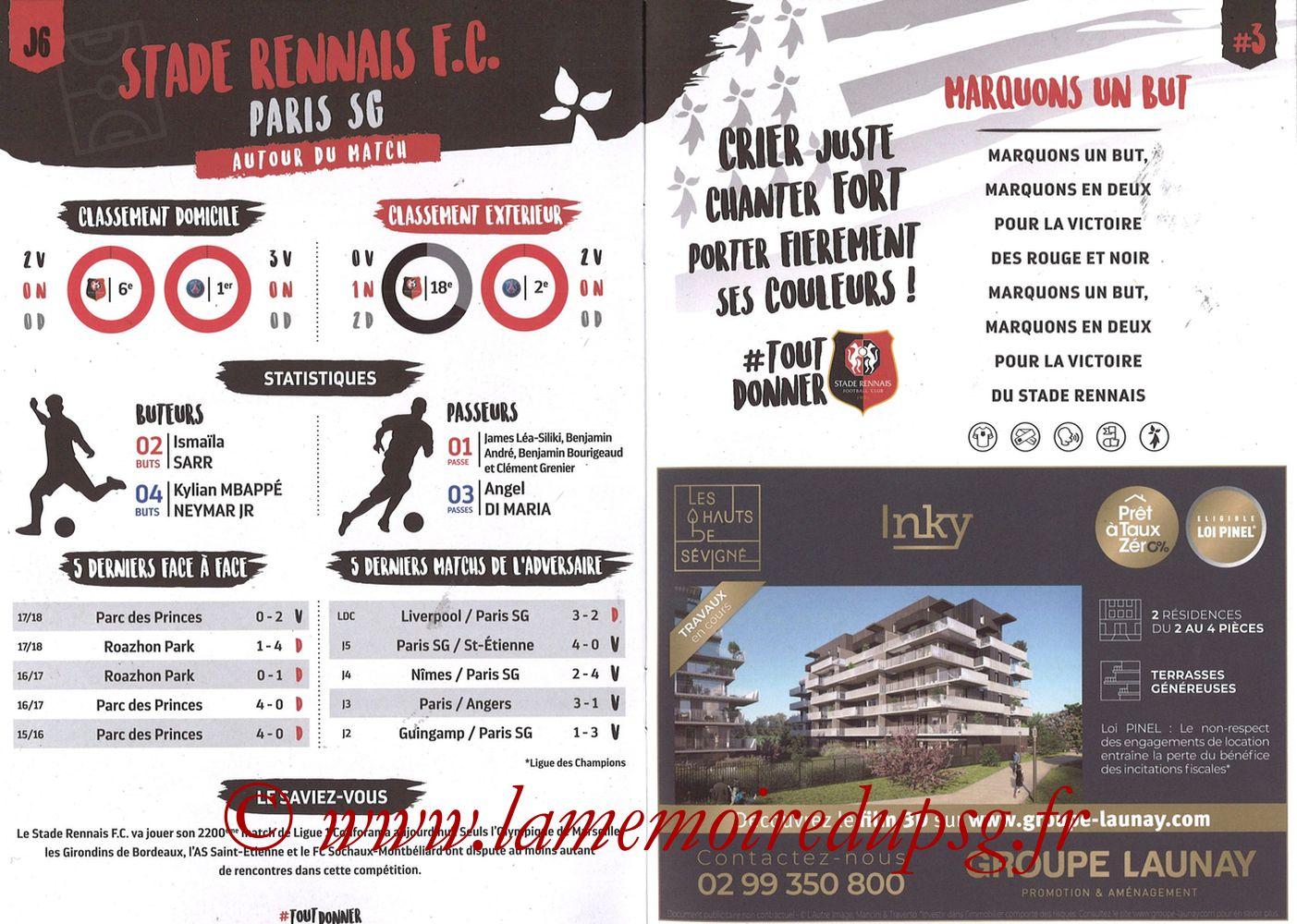 2018-09-23  Rennes-PSG (6ème L1, Programme officiel) - Pages 10 et 11