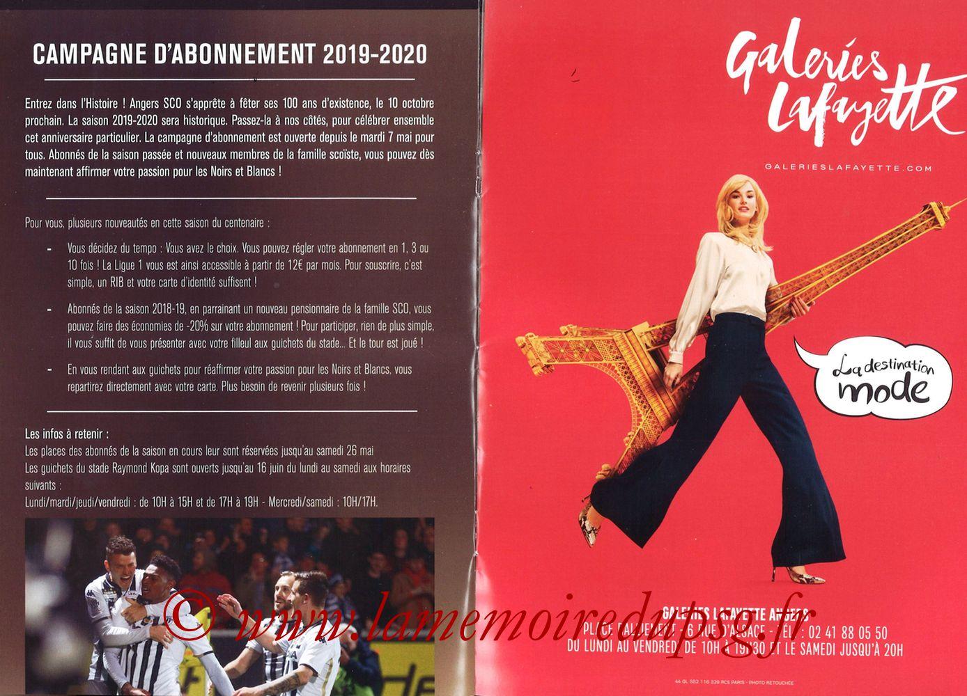 2019-05-11  Angers-PSG (36ème L1, Programme officiel N°18) - Pages 08 et 09