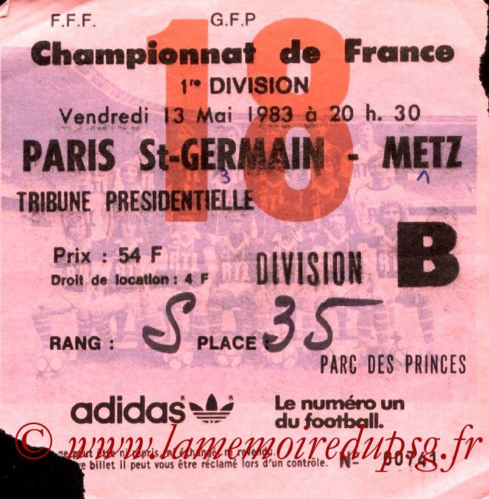 1983-05-13  PSG-Metz (35ème D1, Ticket N°18)
