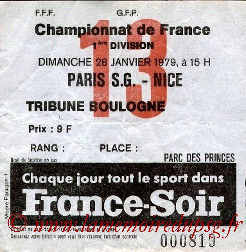 1979-01-28  PSG- Nice (25ème D1, Ticket N°13)
