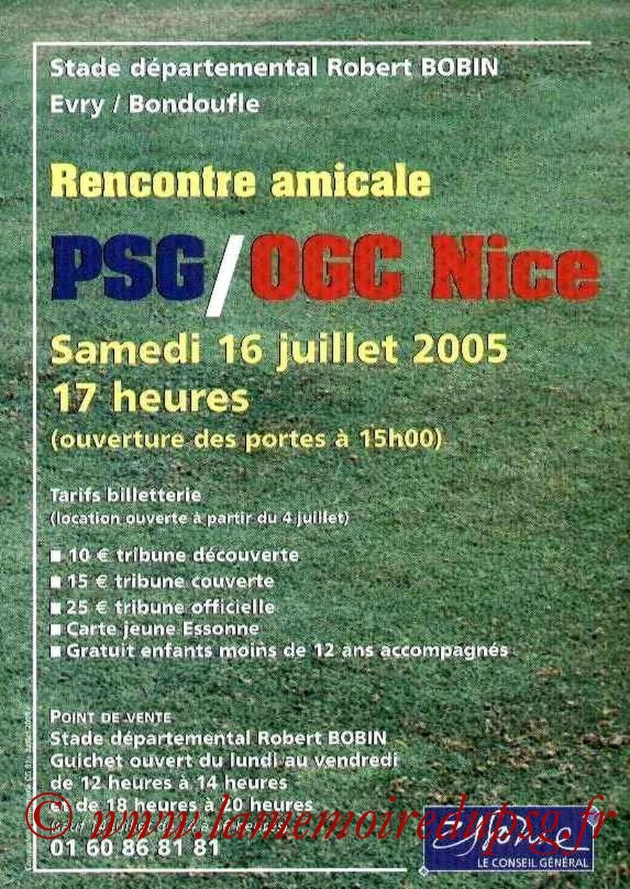 2005-07-16  PSG-Nice (Amical à Evry Bondoufle, Affichette)