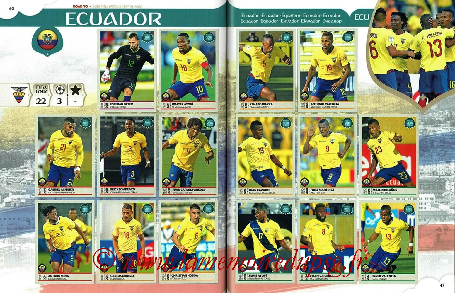 2018 - Panini Road to FIFA World Cup Russia Stickers - Pages 46 et 47 - Equateur
