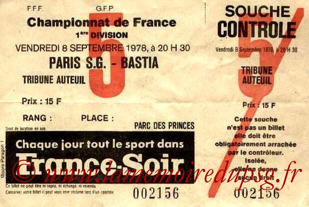 1978-09-08  PSG-Bastia (10ème D1, Ticjet N°5, Neuf)