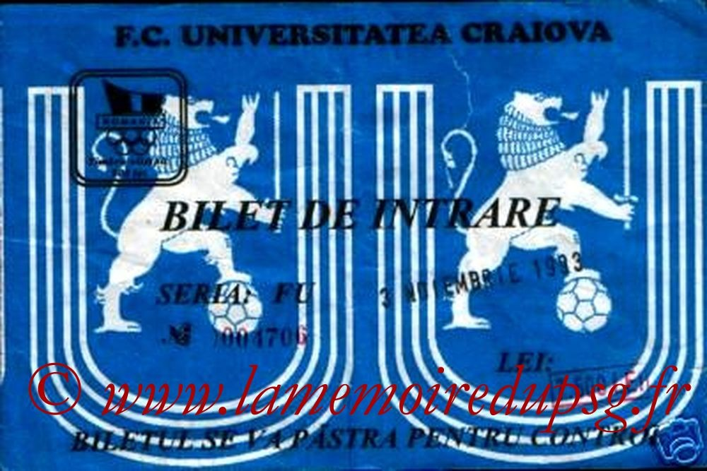 1993-11-03  Universitatea Craiova-PSG (8ème Finale Retour C2)