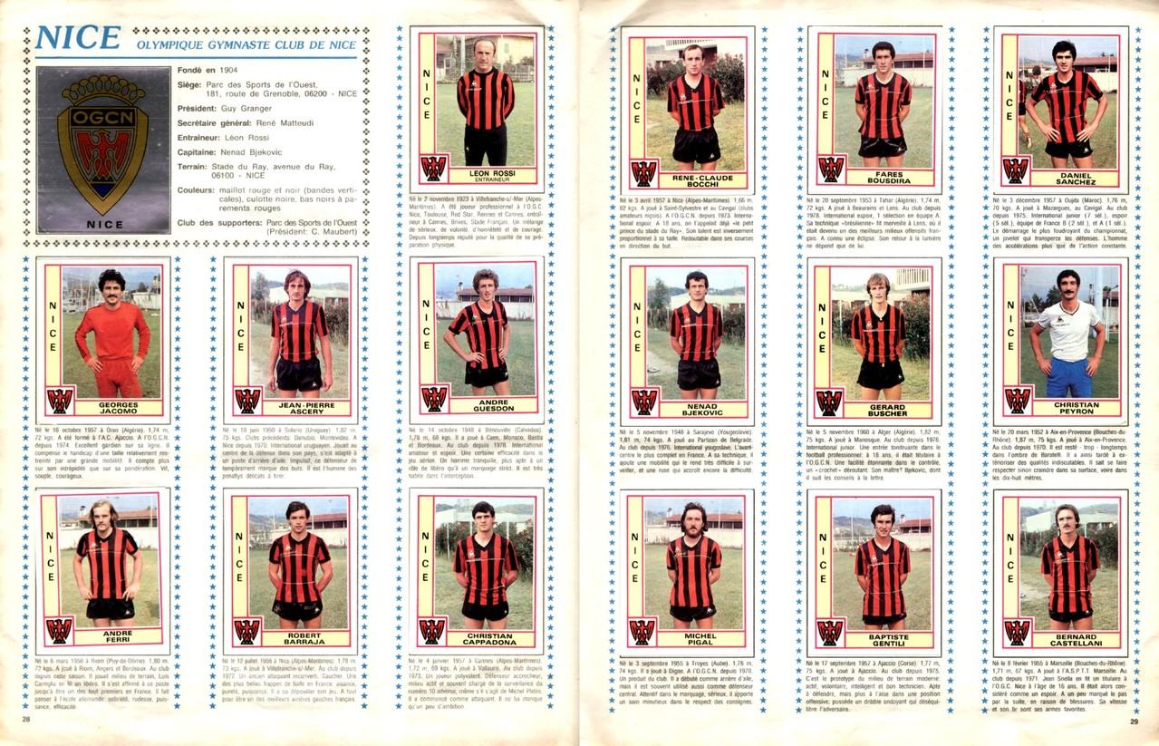1979-80 - Panini 1980 - Pages 28 et 29 - OGC Nice