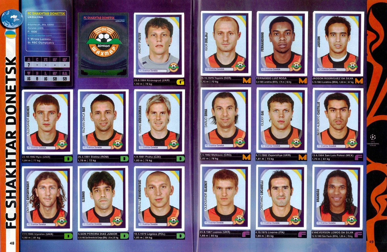 2007-08 - Panini Champions League - Pages 48 et 49 - FC Shakhtar Donetsk
