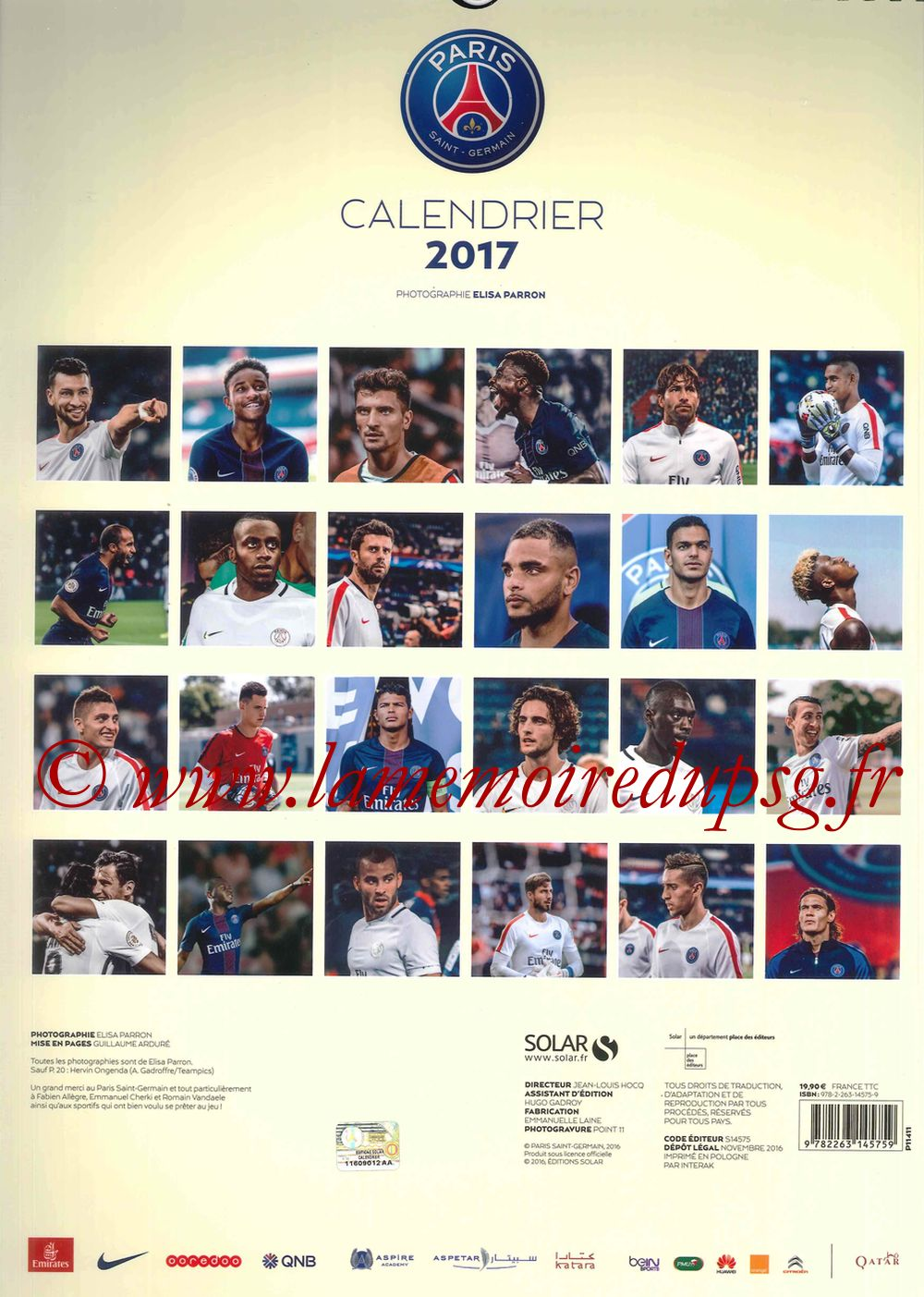 Calendrier PSG 2017 - Page 25 - Dos