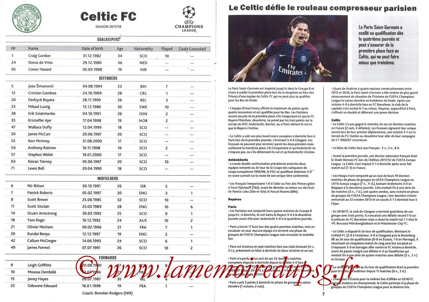 2017-11-22  PSG-Celtic (5ème Poule C1, Programme pirate) - Pages 06 et 07