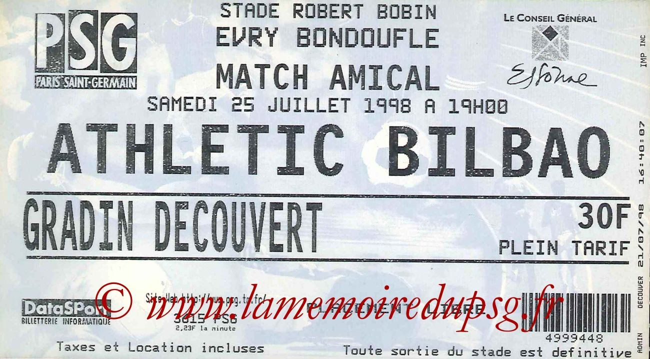 1998-07-25  PSG-Athletic Bilbao (Amical à Evry-Bondoufle)
