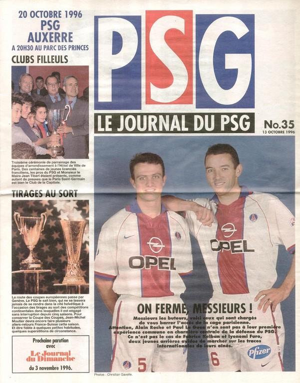 1996-10-20  PSG-Auxerre (13ème D1, Le Journal du PSG N°35)