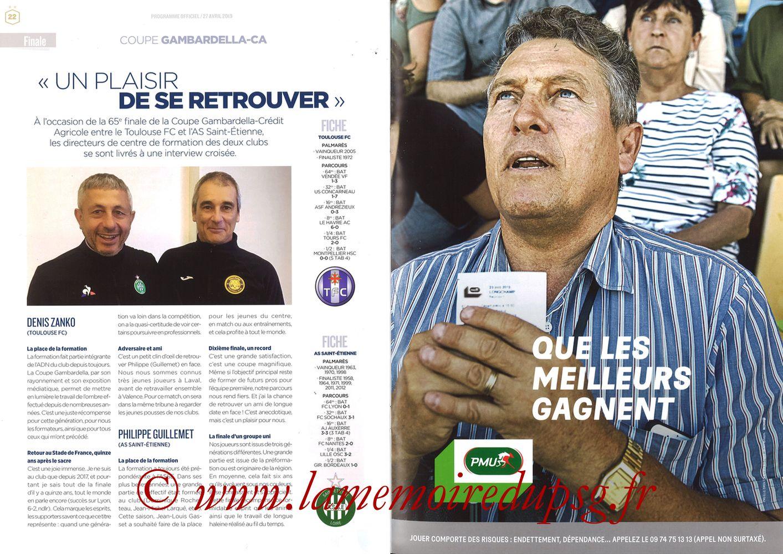 2019-04-27  Rennes-PSG (Finale CF au Stade de France, Programme officiel FFF) - Pages 22 et 23