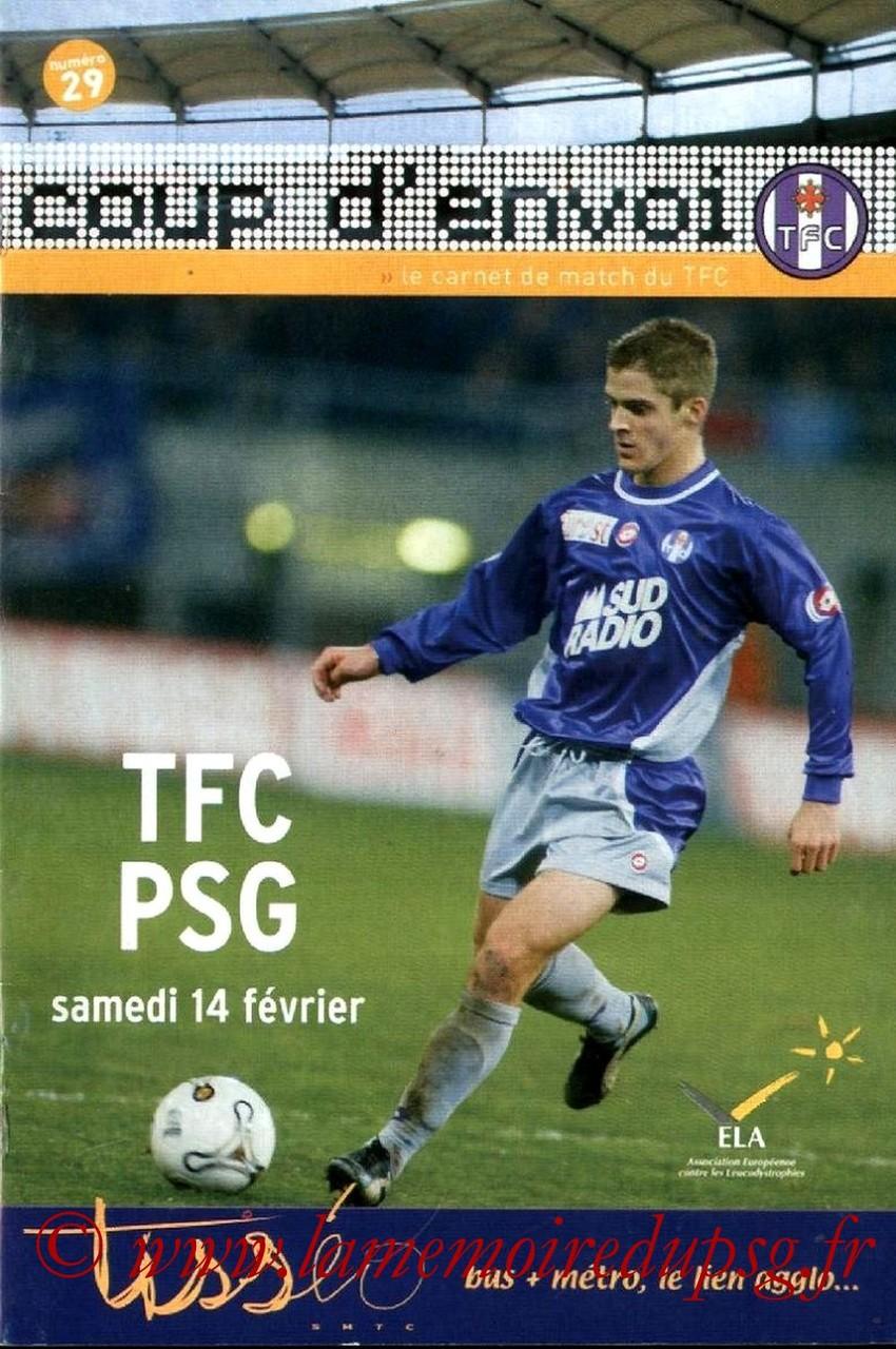 2004-02-14  Toulouse-PSG (24ème L1, Coup d'envoi N°29)