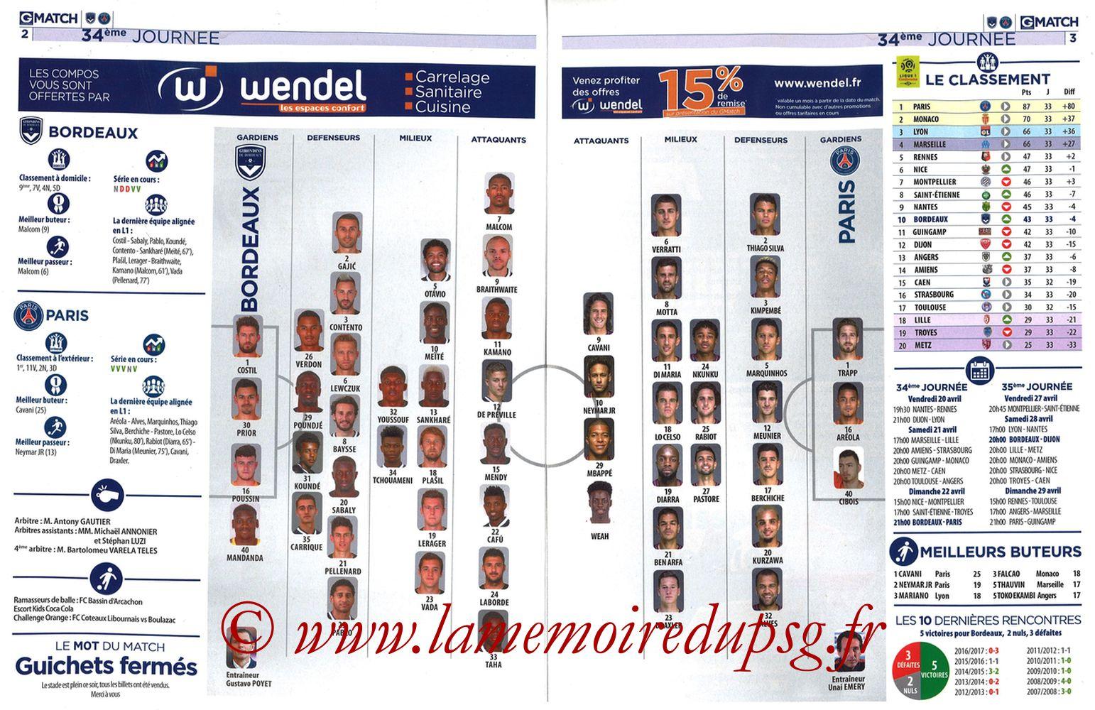 2018-04-22  Bordeaux-PSG (34ème L1, Girondins Match N°59) - Pages 02 et 03