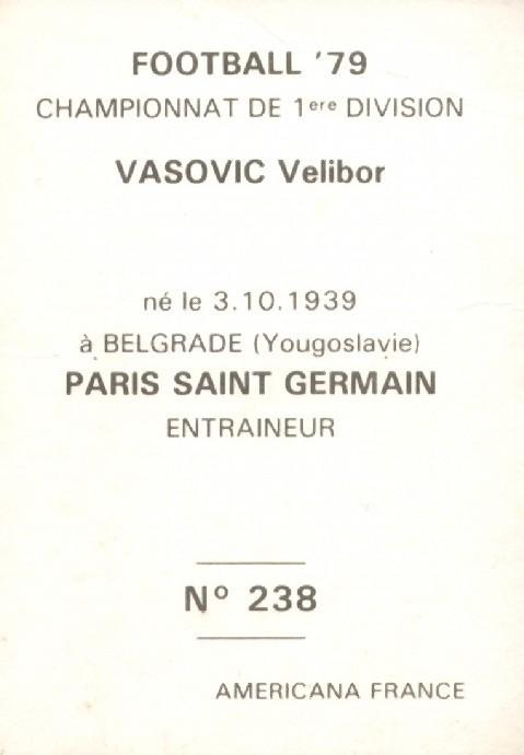 N° 238 - Velibor VASOVIC (Verso)