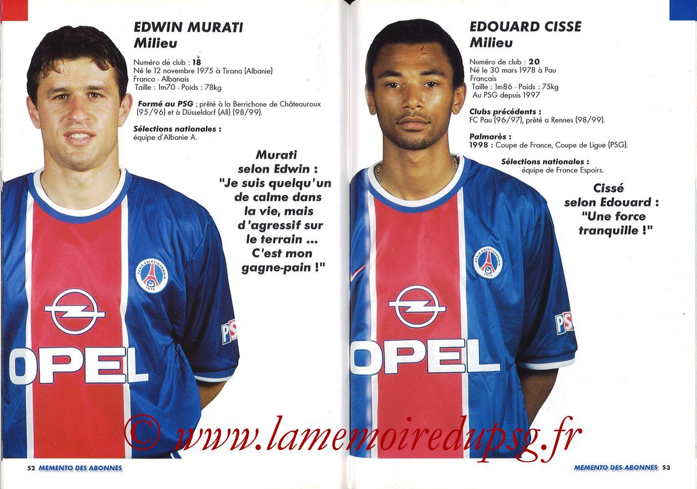 1999-00 - Guide de la Saison PSG - Pages 52 et 53