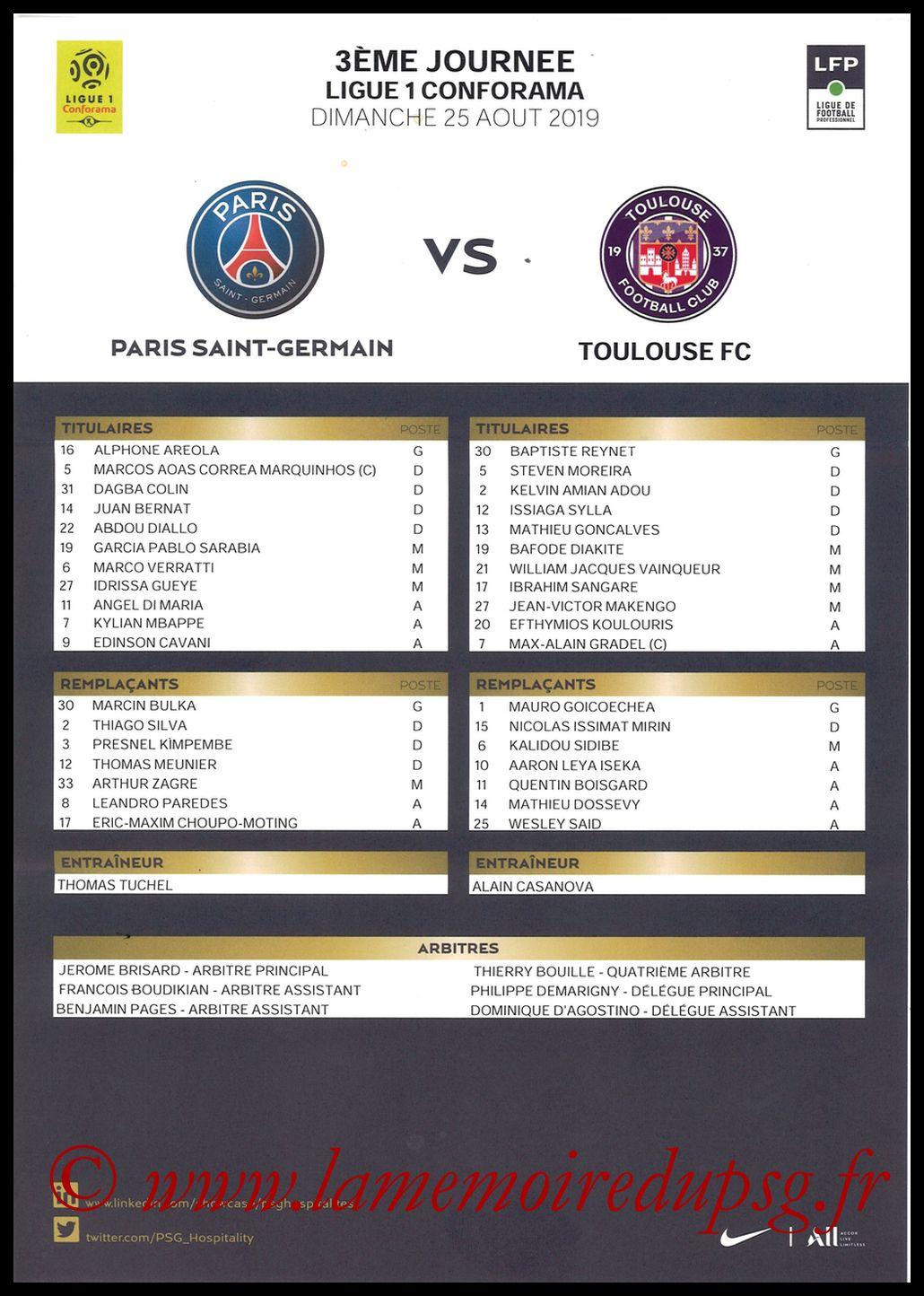 2019-08-25  PSG-Toulouse (3ème L1, Feuille de match)